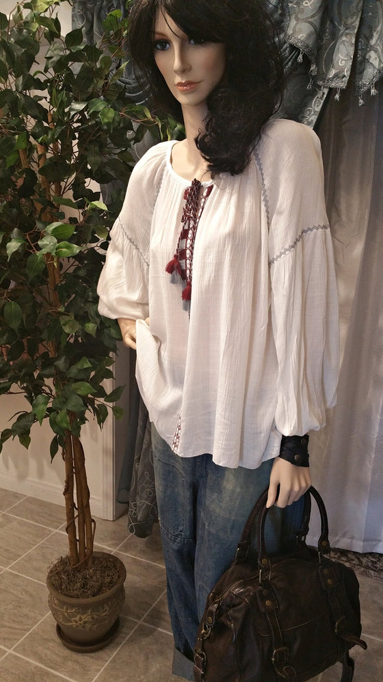 Off White Peasant Blouse with Front Decoration - Bohemian Style