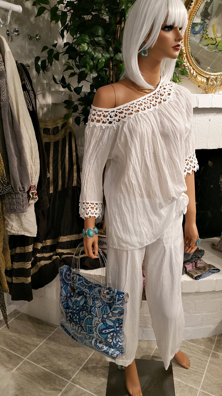 White 100% Cotton Beach Blouse by Siganka