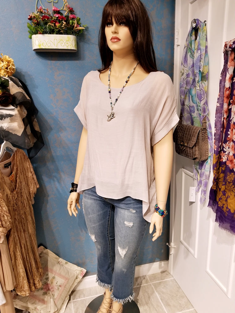 Pale Gray Plus Size Top