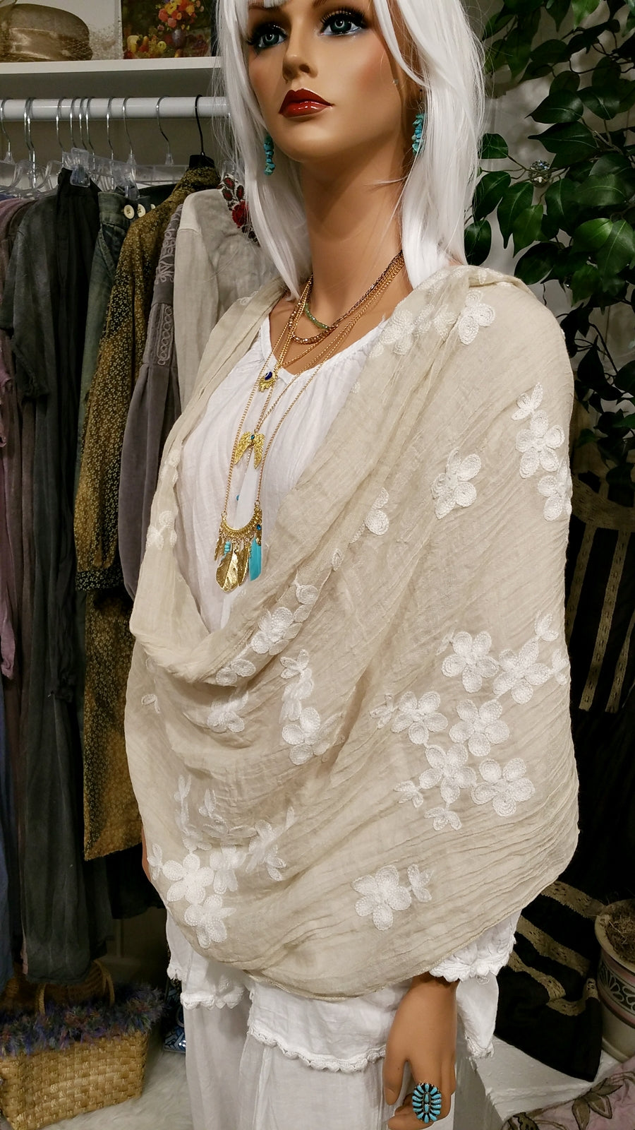 Beige Embroidered Cotton Scarf