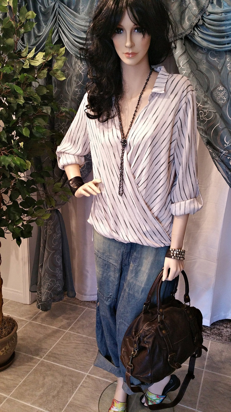 White Long Sleeve Collar Shirt With Stripes - Boho Style