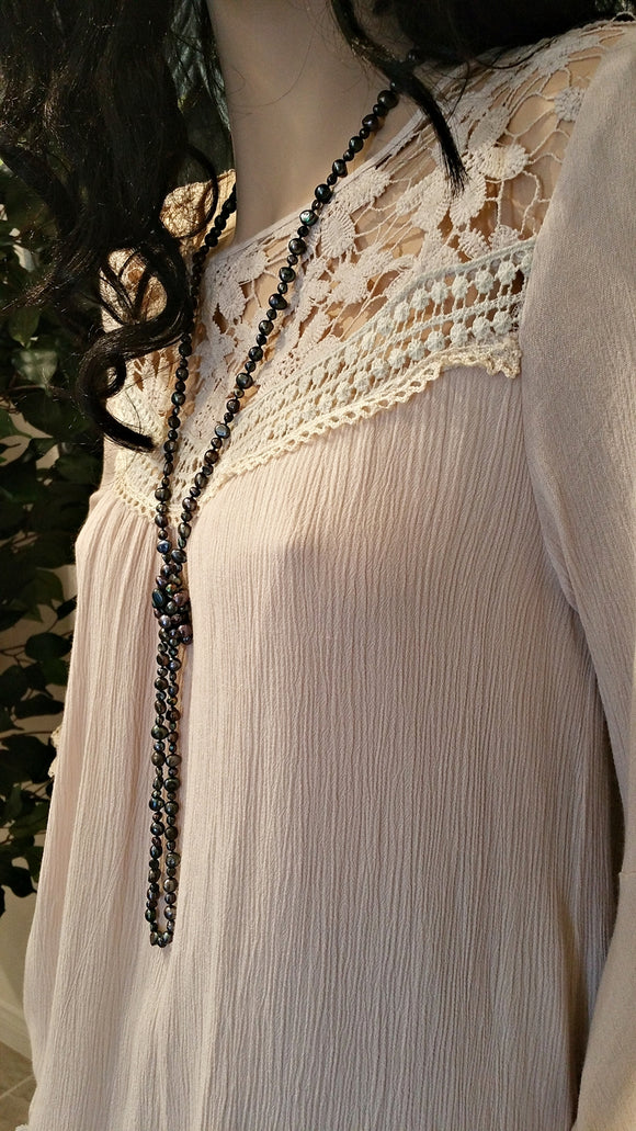 Beige Vintage Tunic Dress with Long Sleeves and Lace