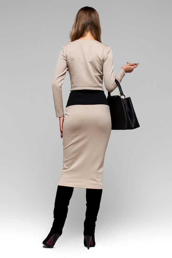 Beige Two Piece Comfortable Long Sleeve Skirt Suit Dress with Pencil Skirt - Kollekcio  - 1