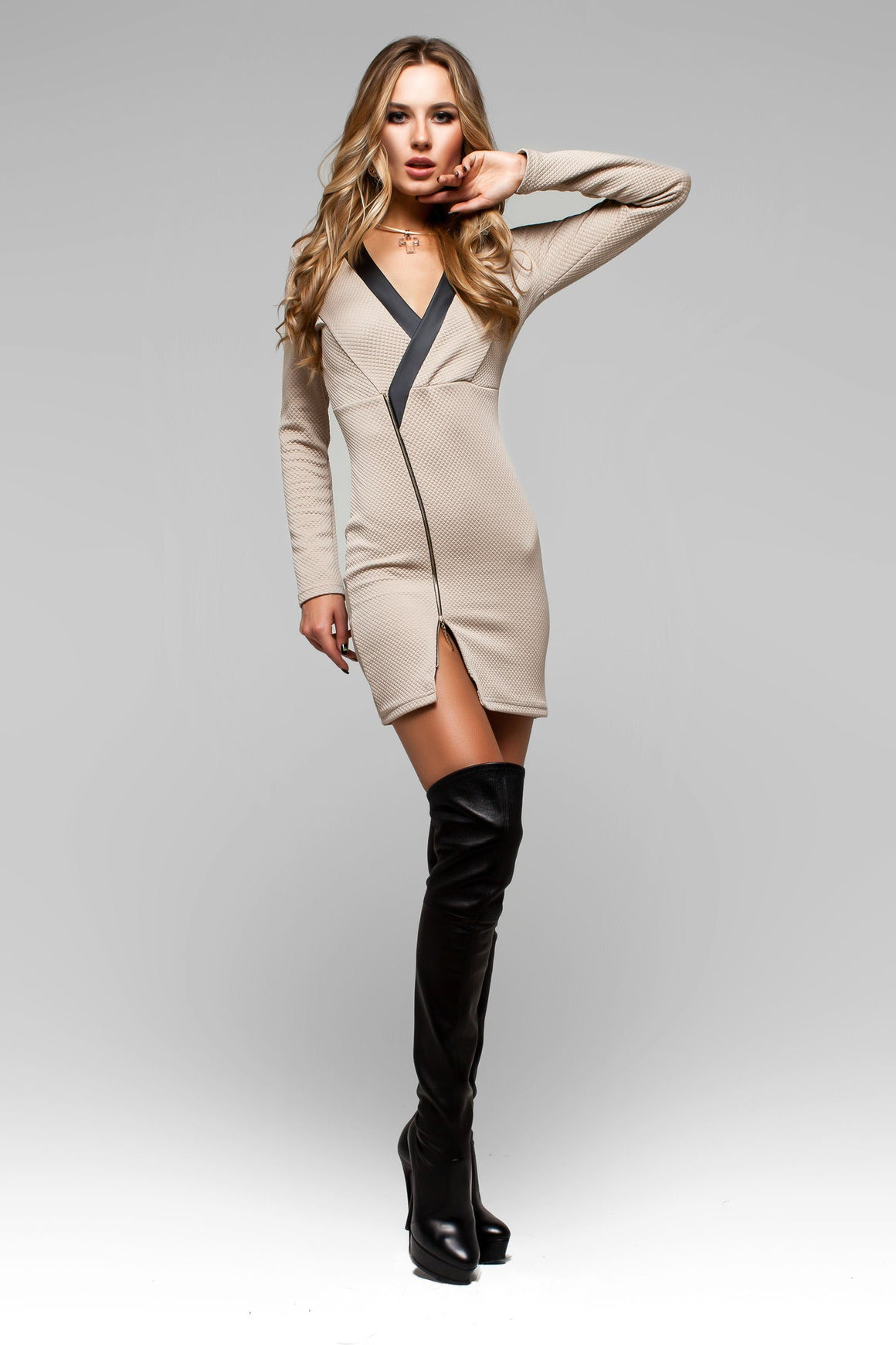 Beige/Tan Bodycon Tunic, Short Dress with Zipper Deco - Kollekcio  - 1