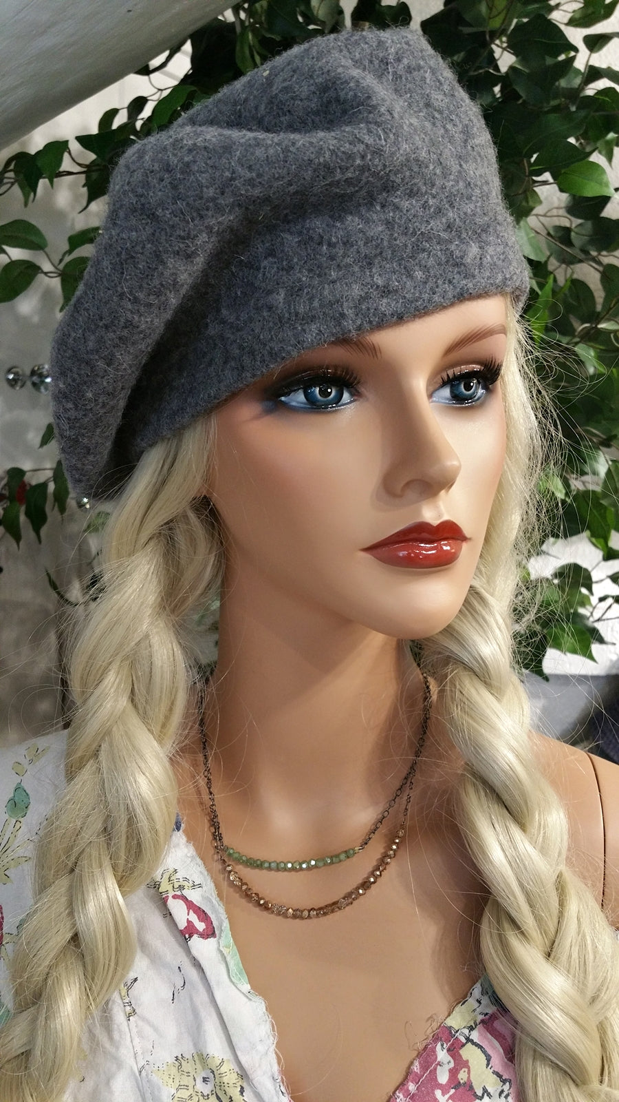Gray Wool Beret Hat