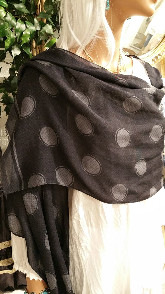 100% Italian Cashmere Scarf with Large Polkadots