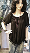 Off Shoulder Black PomPom Hem One Size Boho Top