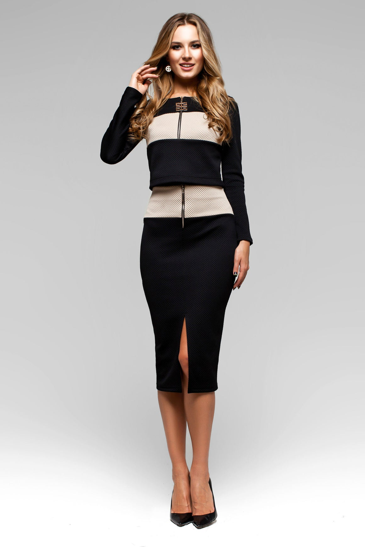 Black Two Piece Comfortable Long Sleeve Skirt Suit Dress with Pencil Skirt - Kollekcio  - 1