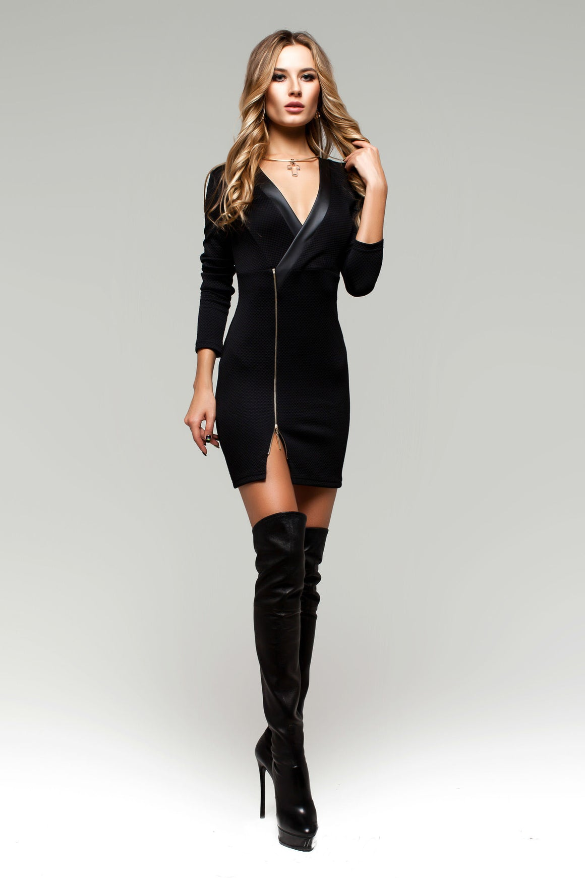 Black Bodycon Tunic Dress with Zipper Deco - Kollekcio  - 1