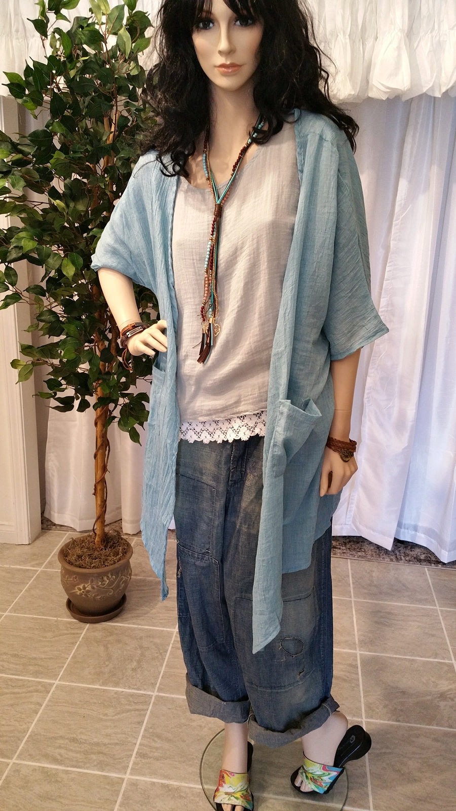 Blue Soft Cotton Bohemian Robe Style Cardigan
