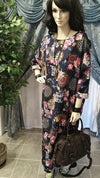 Vintage Style 100% Cotton Floral Long Sleeve Maxi Dress