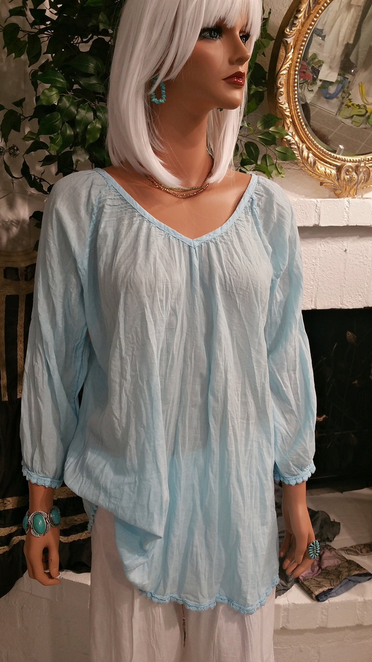 Light Blue 100% Cotton Beach Tunic Top by Siganka