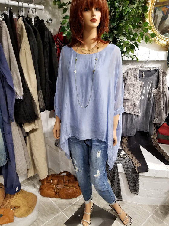 Italian Silk Top - Blue