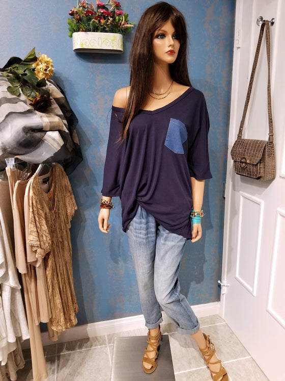 Basic Oversized Elbow Sleeve V-Neck Top