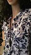 White & Blue Floral Cotton One Size/Plus Size Tunic Shirt - Bohemian Style