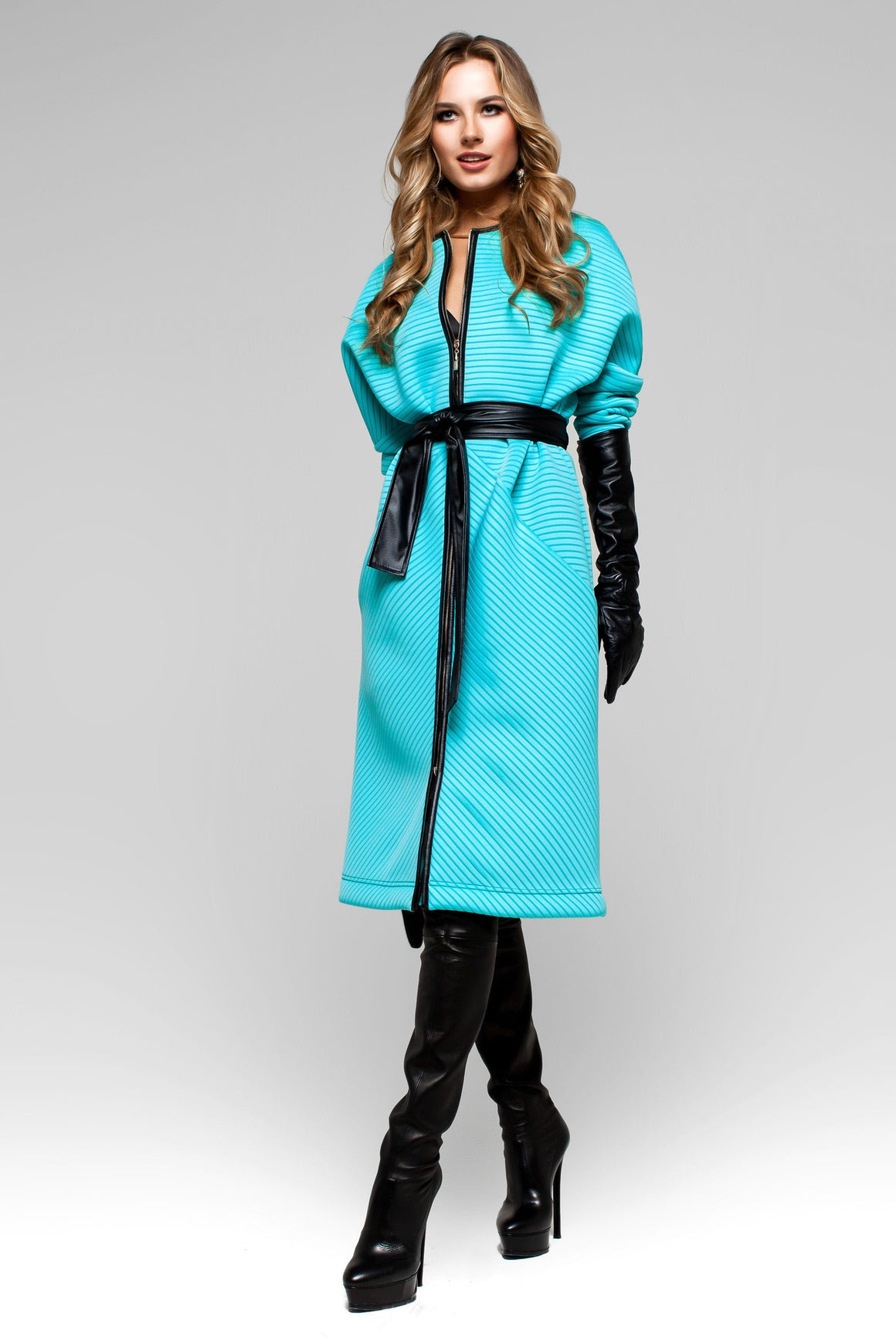 UGHI Sky Blue Women's Fashion Coat with Wide Black Belt - Kollekcio  - 1