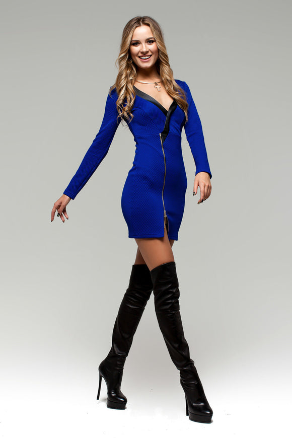 Electric Blue Bodycon Tunic Dress with Zipper Deco - Kollekcio  - 1