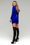 Electric Blue Bodycon Tunic Dress with Zipper Deco - Kollekcio  - 3