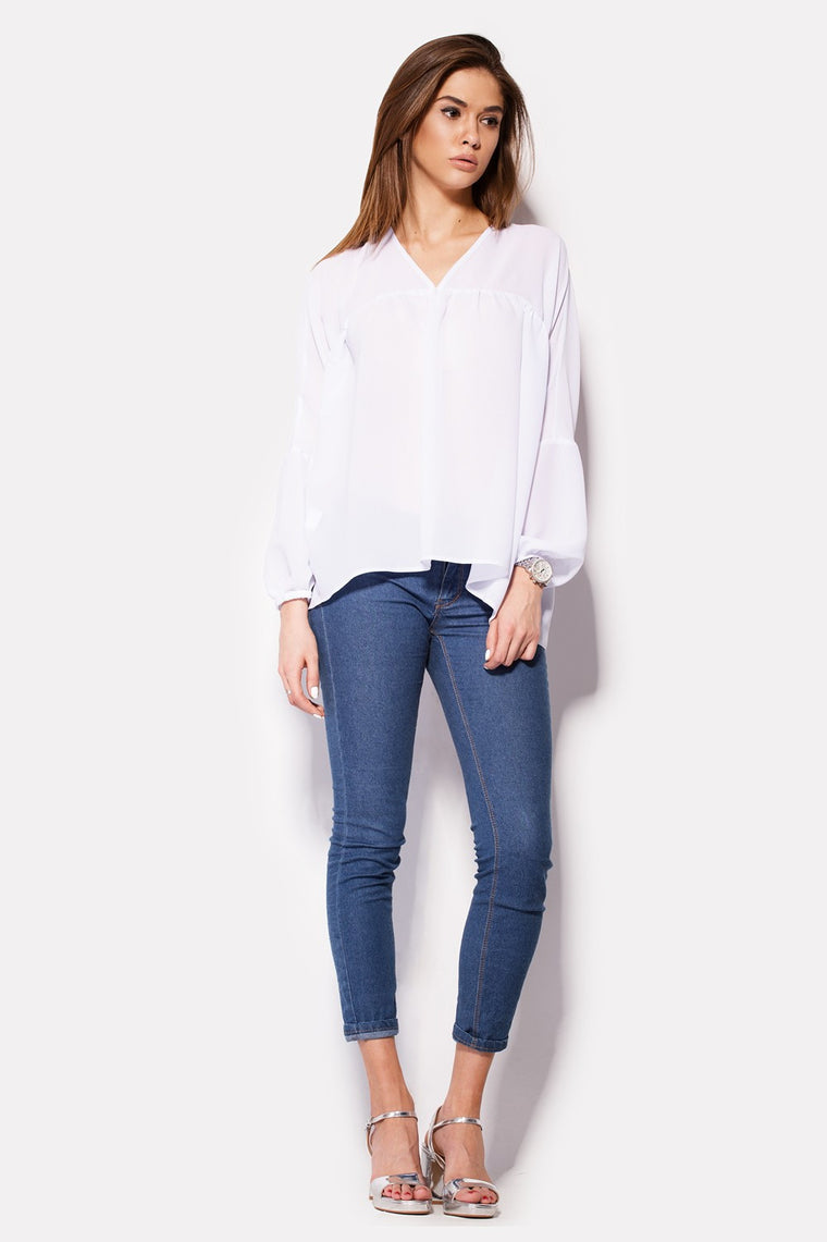 White Long Sleeve Blouse - Kollekcio  - 1