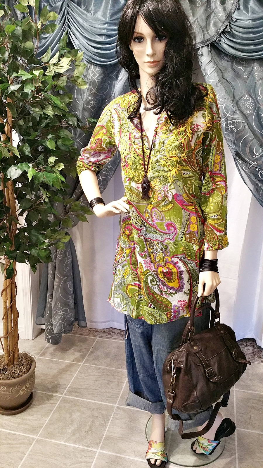 Multi-Color Green Long Sleeve Embroidered Cotton Tunic - Boho Style