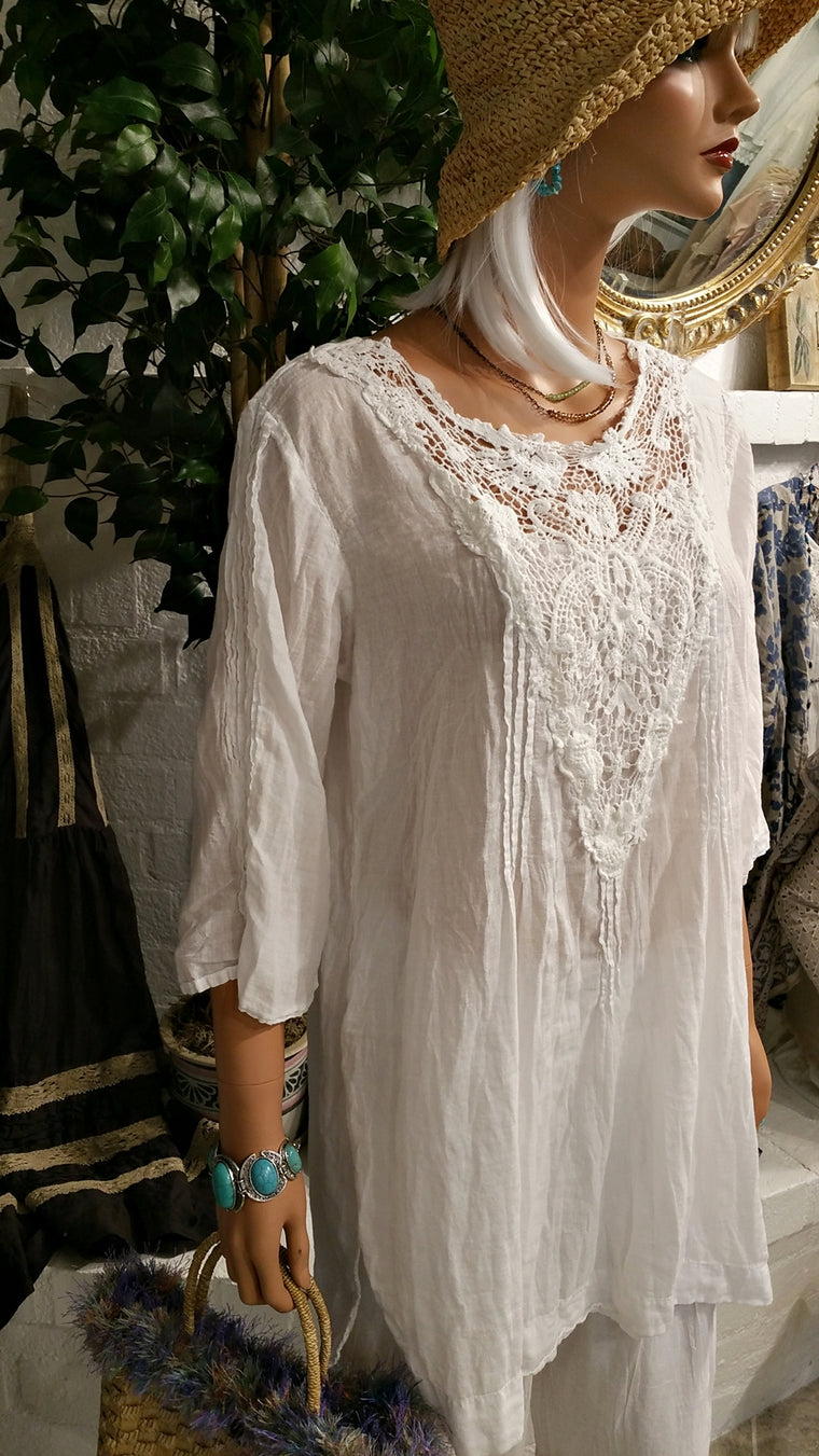 Half Sleeve White Soft Cotton Tunic with Lace Decoration - Britney  by Siganka