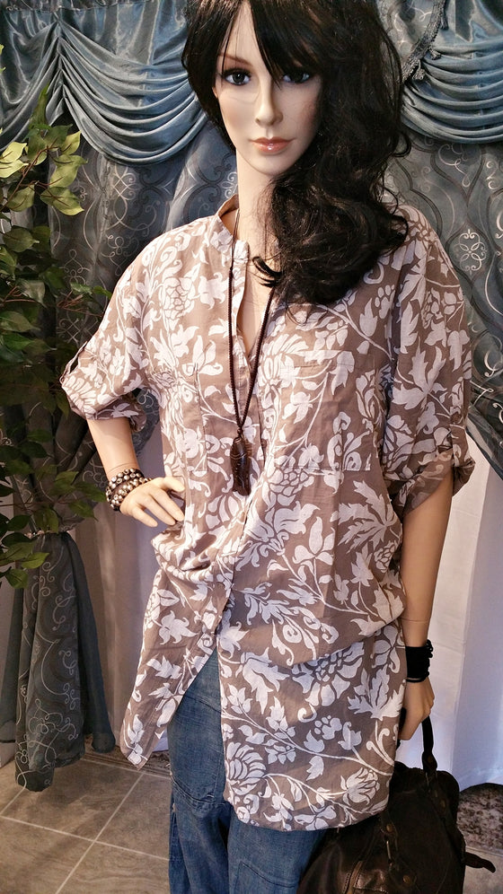 Brown Floral Cotton One Size/Plus Size Tunic - Boho Style