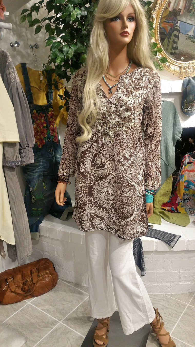 White & Brown Long Sleeve Embroidered Cotton Tunic