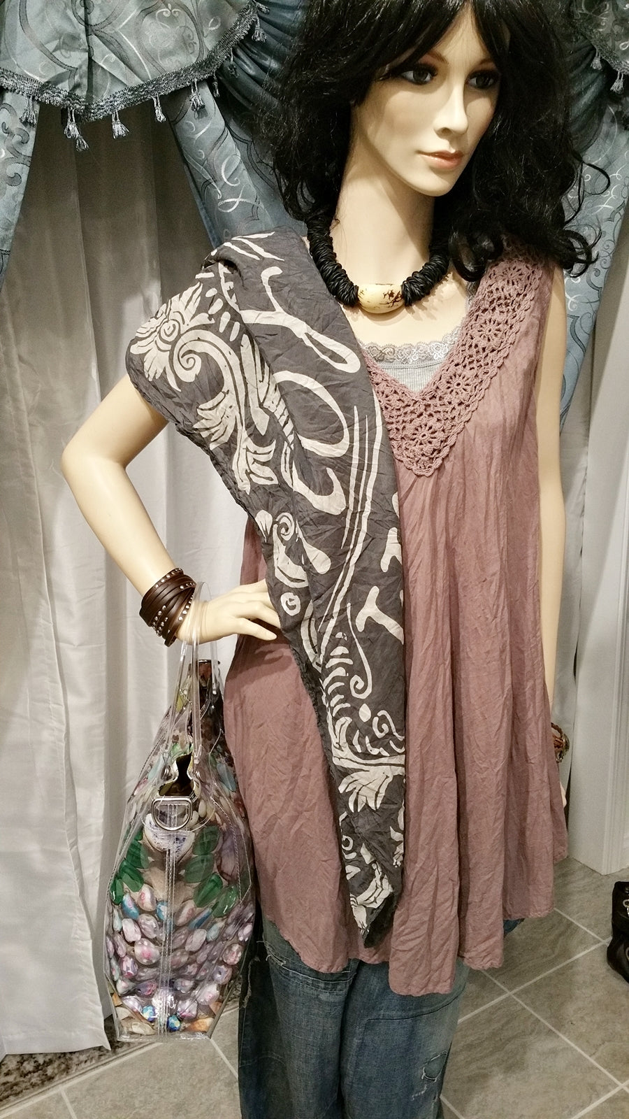 Cotton Brown Sleeveless Tunic with Lace Deco