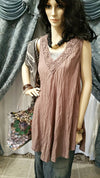 Cotton Brown Sleeveless Lagenlook Tunic with Lace Deco