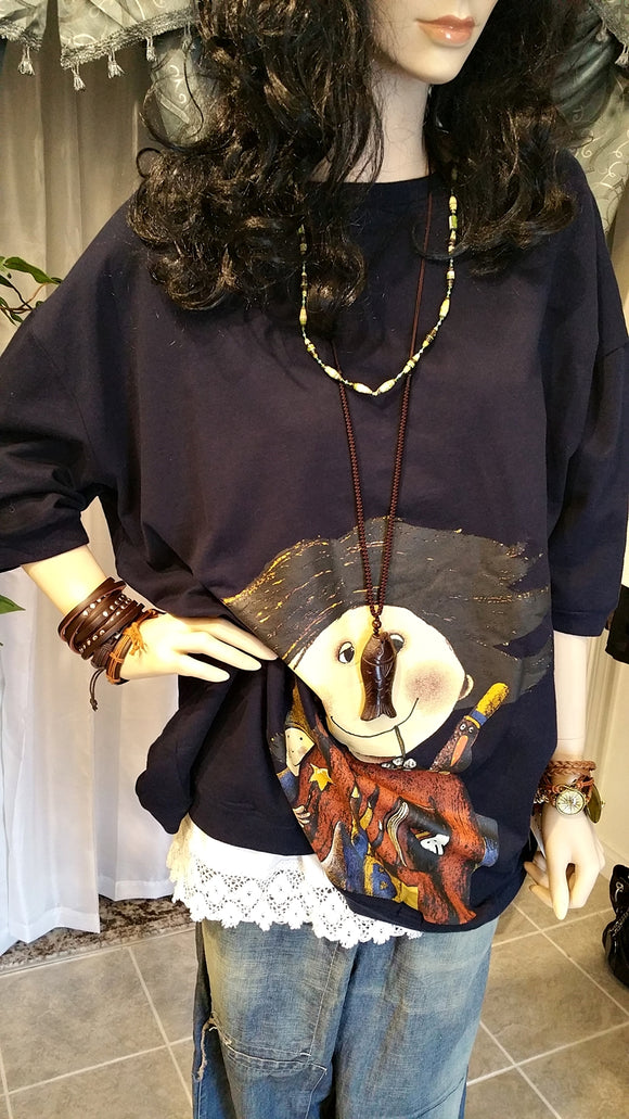 Oversized Bat-Wing Casual Cotton Lagenlook Boho Layered Sweater Top