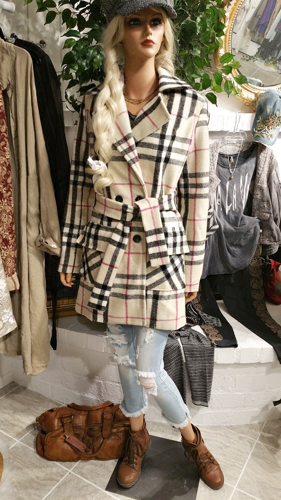 Beige Cashmere Blend Coat, Checkered