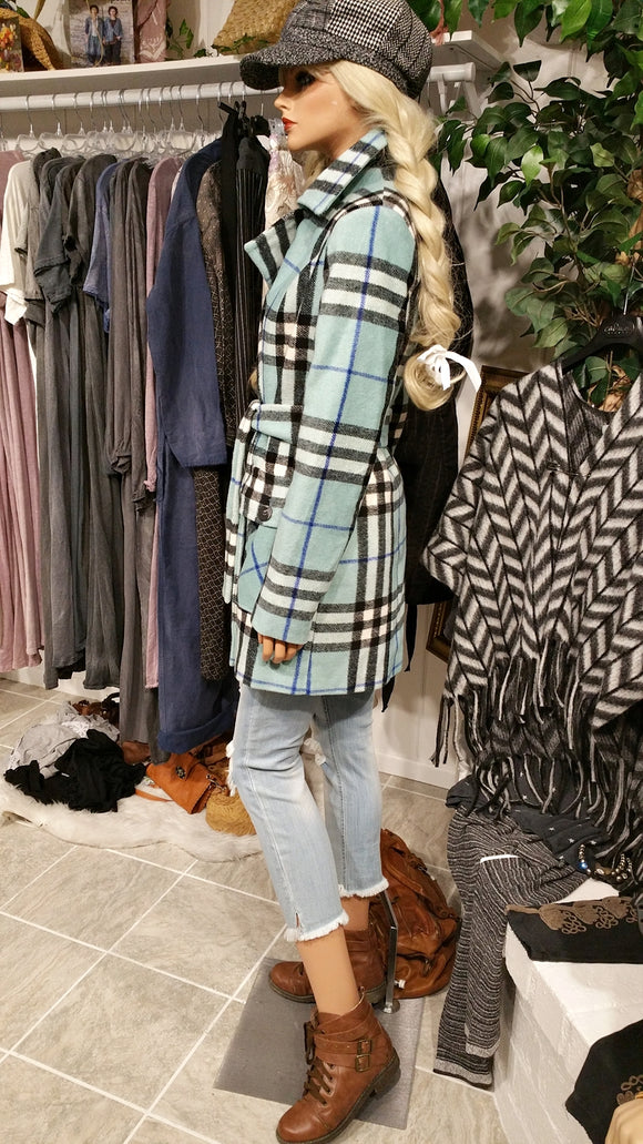 Blue Cashmere Blend Coat, Checkered