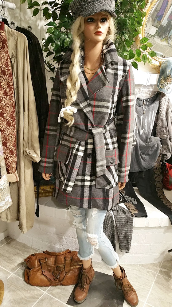 Gray Cashmere Blend Coat, Checkered