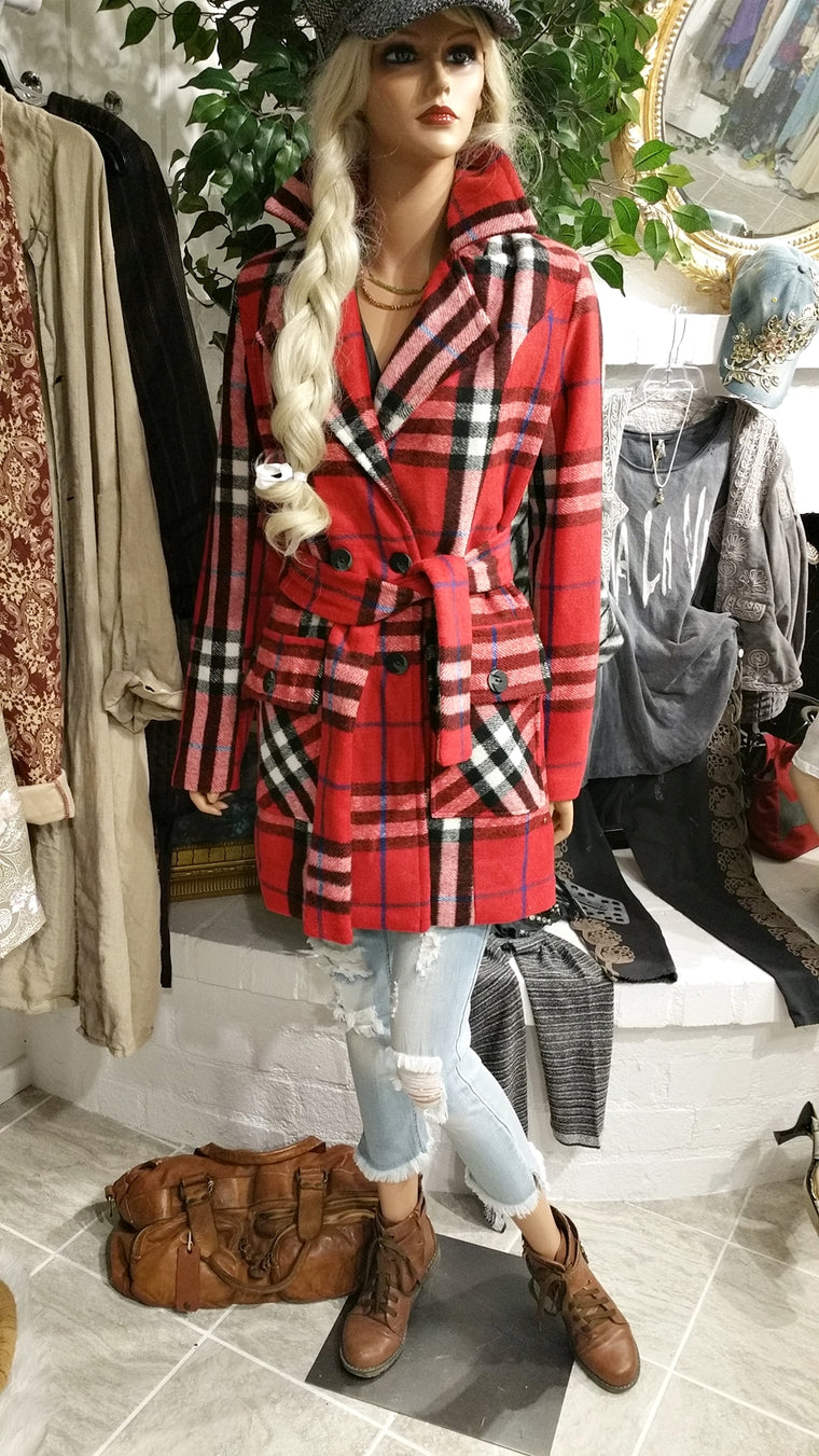 Red Cashmere Blend Coat, Checkered