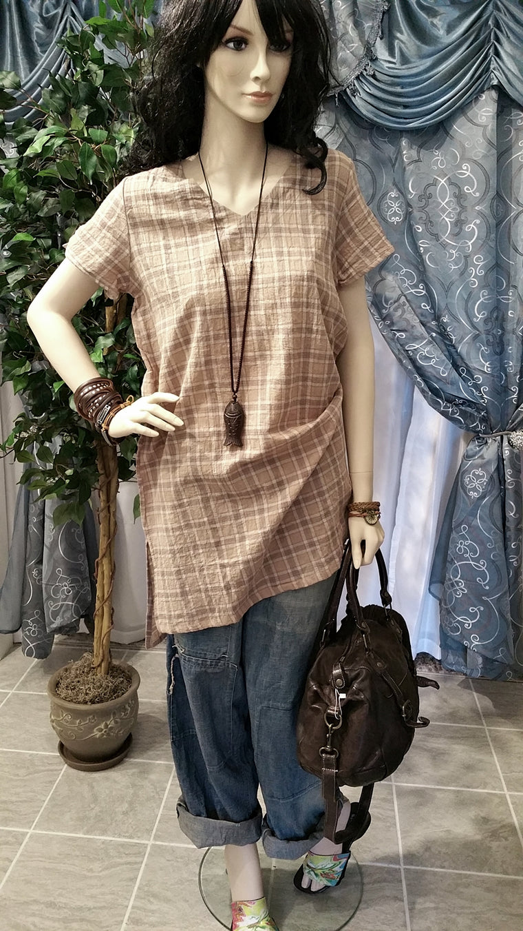 Checkered Brown Short Sleeve Vintage Bohemian Dress