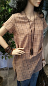 Checkered Pink Short Sleeve Vintage Boho Dress
