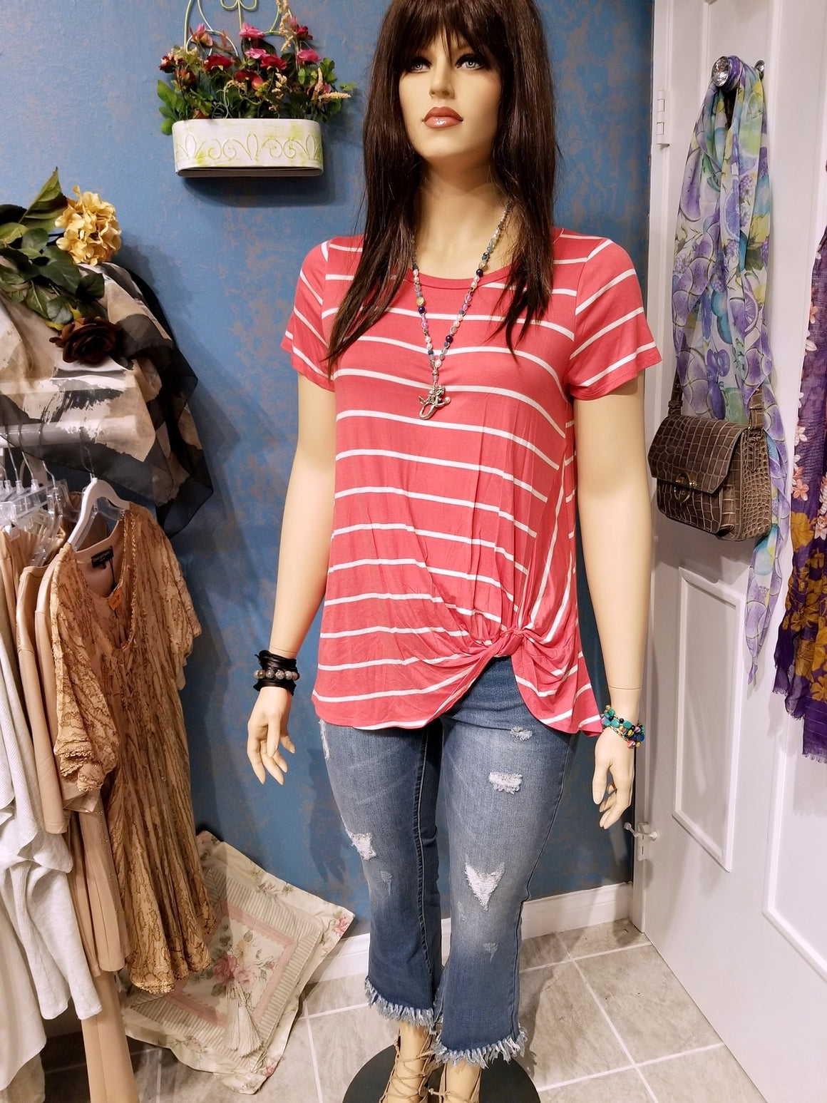Plus Size Coral Stripe Tee with Side Twist Knot