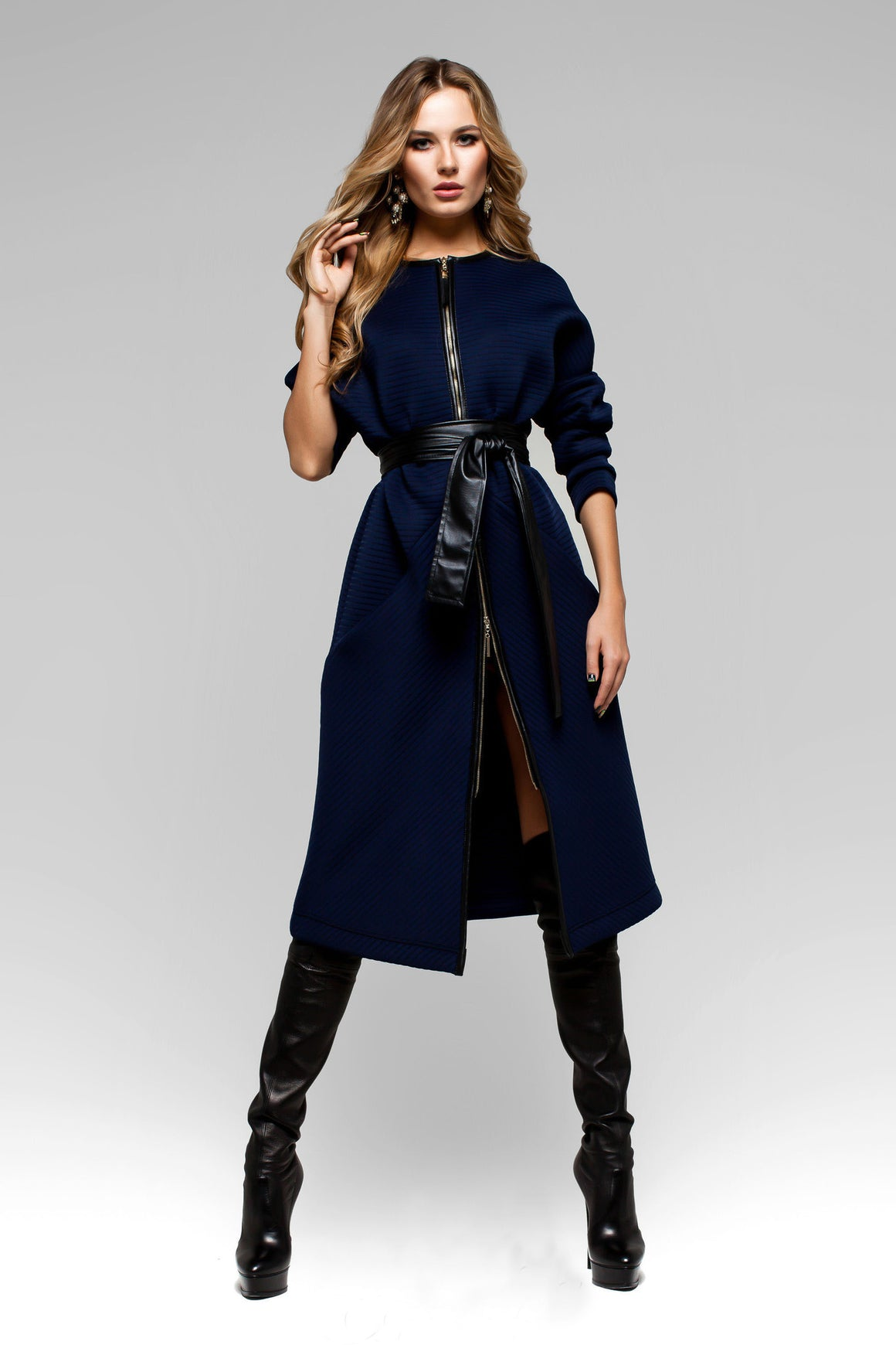 UGHI Royal Blue Coat with Wide Belt - Kollekcio  - 1