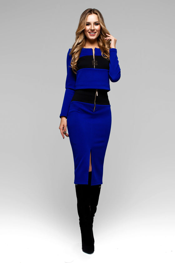 Electric Blue Two Piece Comfortable Long Sleeve Skirt Suit Dress with Pencil Skirt - Kollekcio  - 1