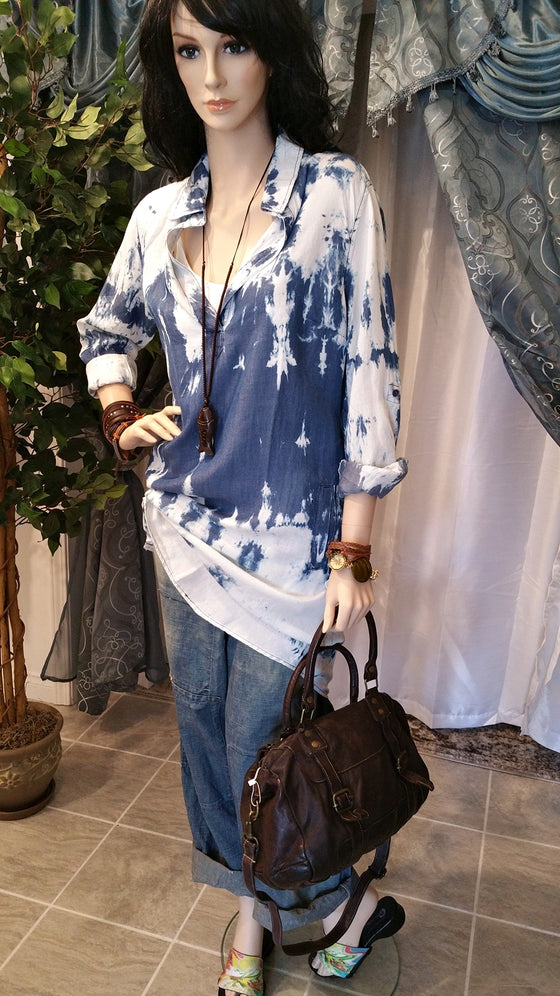Denim Tiedye Style Long Boho Top