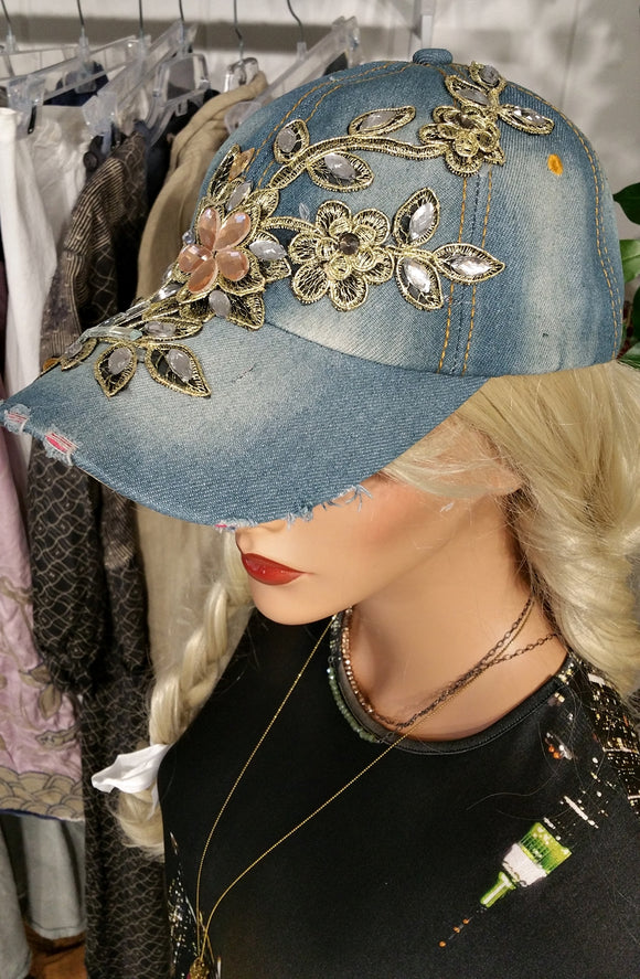 Women's Blue Denim Baseball Hat with Rhinestone Deco