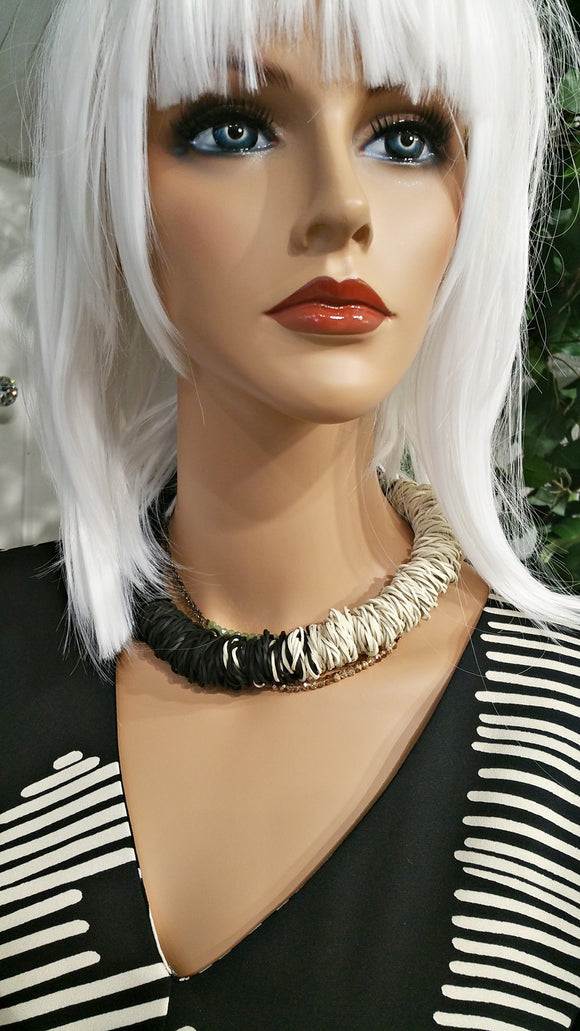 Black and White Collar Necklace