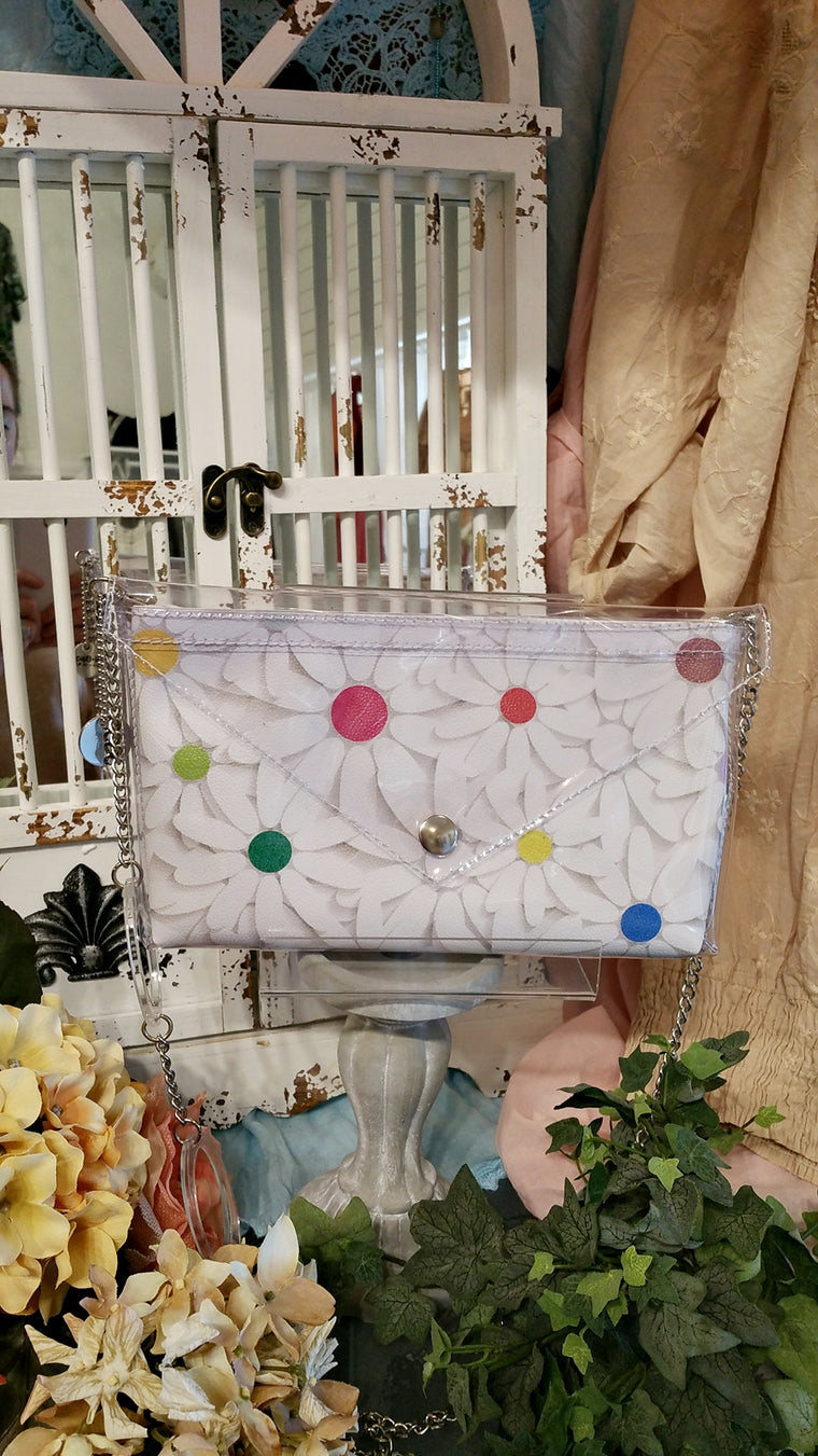 Italian White & Dot Clutch with Shoulder Strap