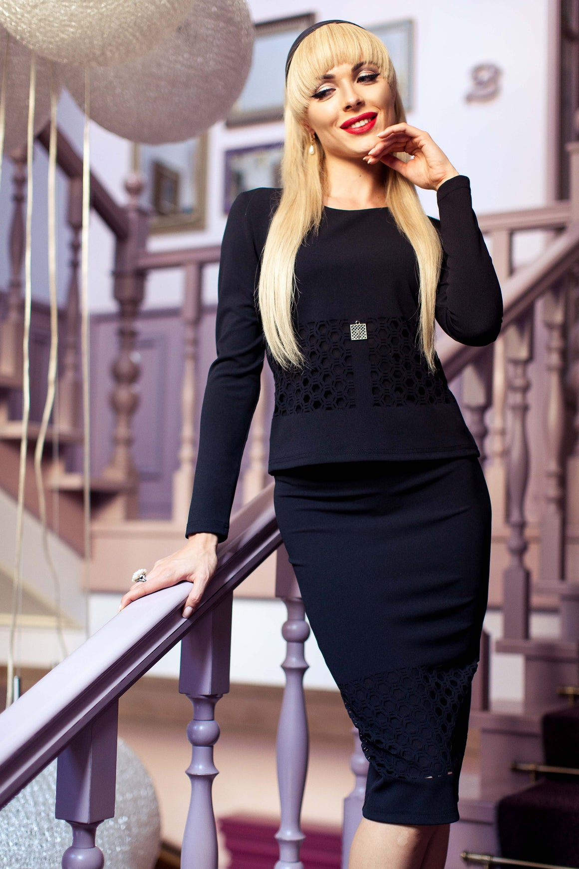 Black Comfortable Two Piece Business Dress Skirt Suit for Women with Pencil Skirt - Kollekcio  - 1