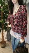Fuschia Black Floral Long Sleeve Boho Blouse - Vintage Style