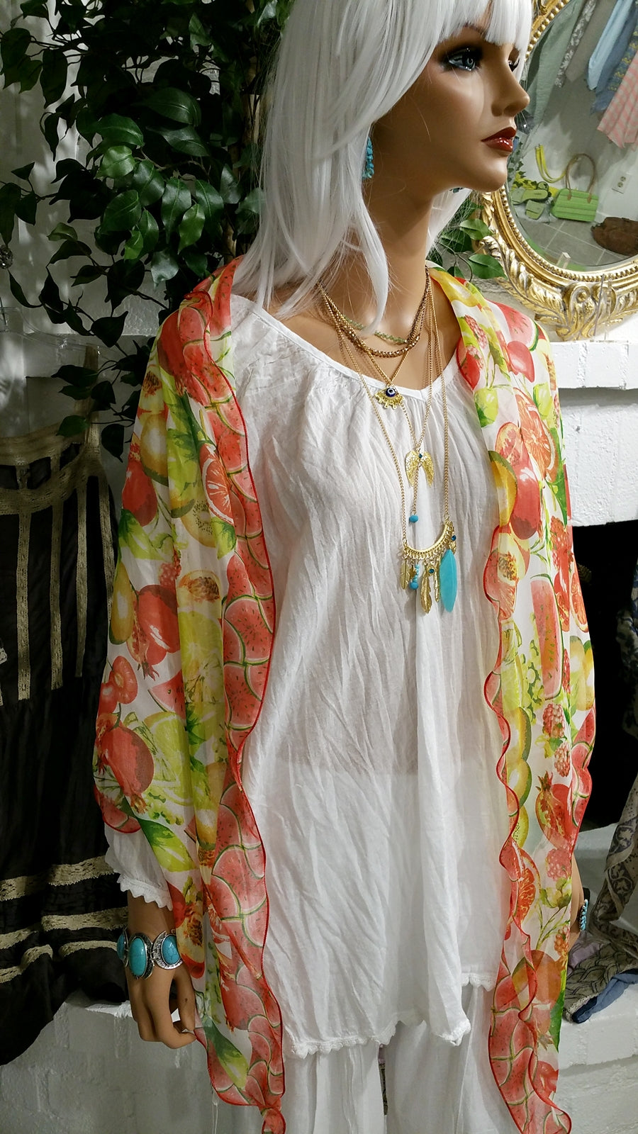 Summer Long Scarf with Fruit Print