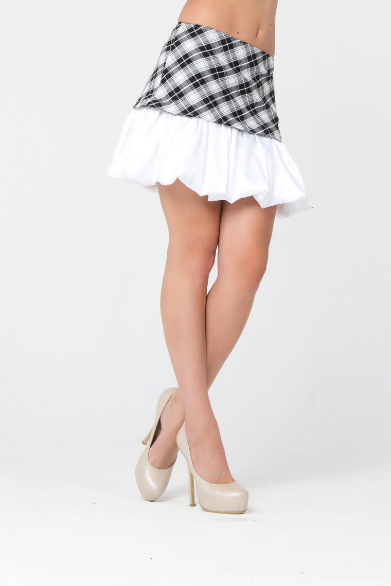 Checkered Black & White A-Line Skirt with White Ruffles - Kollekcio