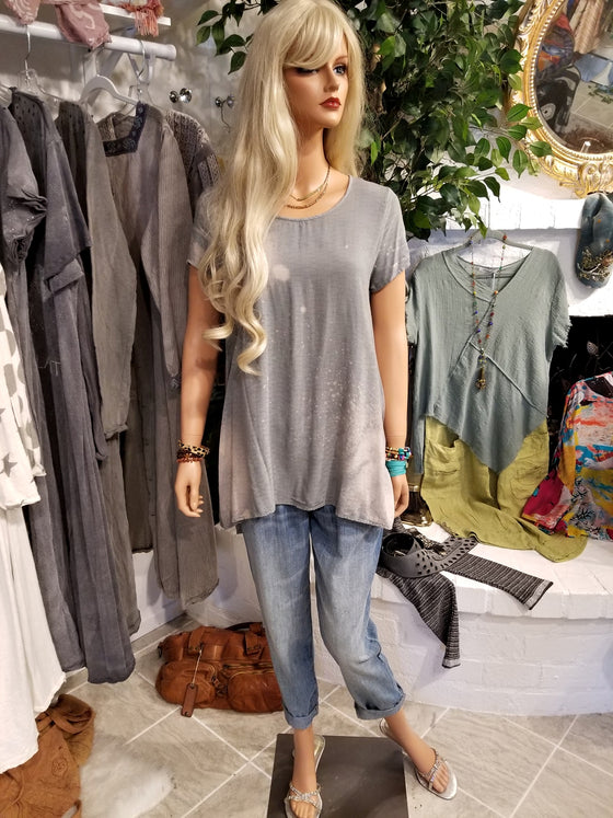 Dyed Vintage Gray Tunic Top