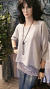 Light Gray Linen One Size Layered T-Shirt - Lagenlook Bohemian Style