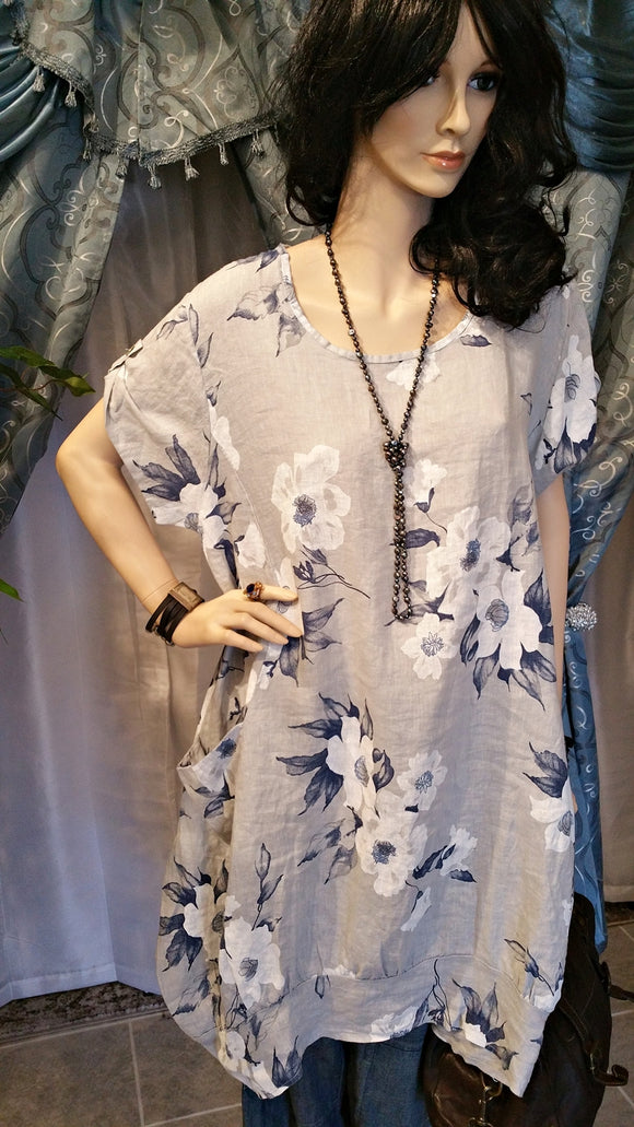 Gray & Blue Floral Linen Lagenlook One Size/Plus Size Tunic Dress - Boho Style